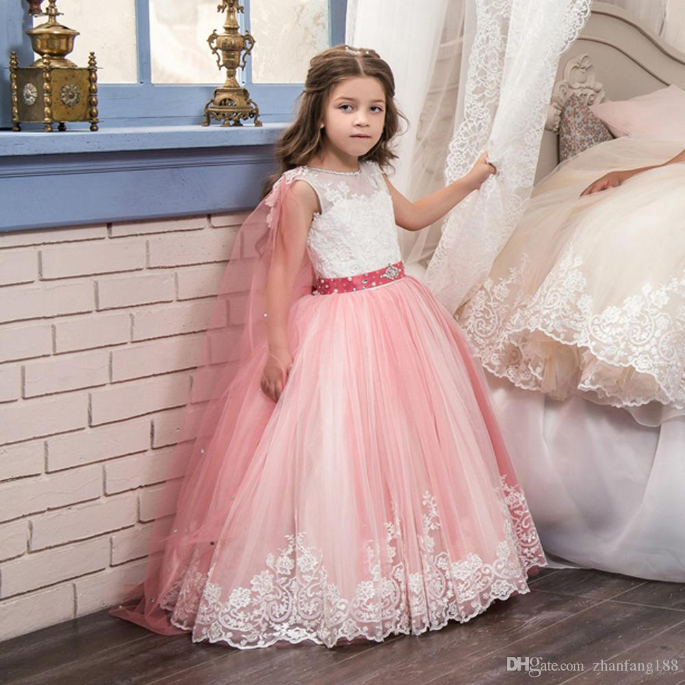 Abiti da principessa lunghi turchesi ragazza 8 12 con Cape Puffy Tulle bambini Laurea Abito da ballo Abito da spettacolo ragazze Glitz