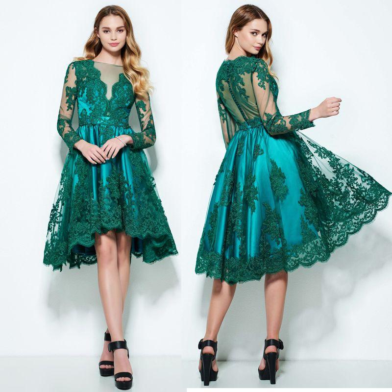 96d696585cd Best Sale 2017 Green Lace Appliques Long Sleeve A Line Illusion V Neck  Short Prom Dress Knee Length Tulle Party Dress Vestido De Festa Debs Prom  Dresses ...