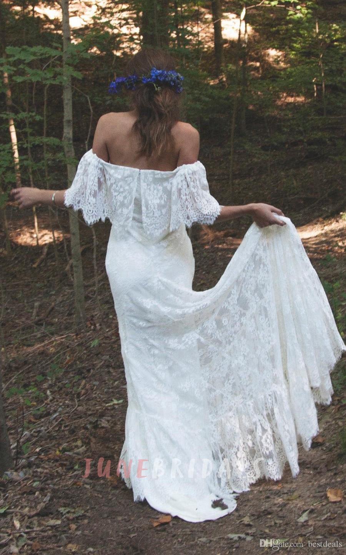2017 Boho с открытыми плечами и зубчатыми кружевами Свадебные платья с длинным шлейфом Романтический пляж Чешские свадебные платья