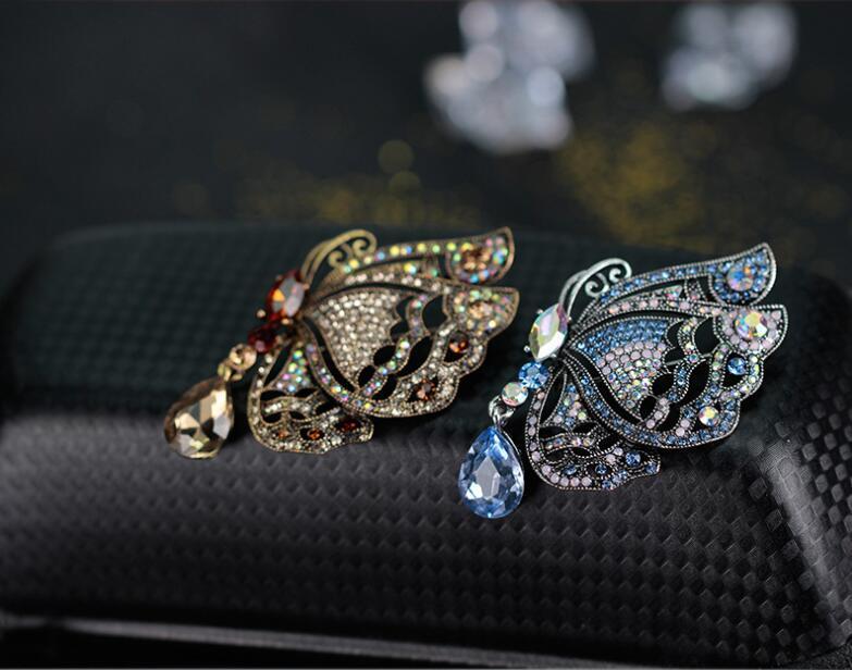 빈티지 신부의 액세서리 중공 나비 브로치 크리스탈 라인 석 나비 핀 브로치 패션 웨딩 파티 보석 선물