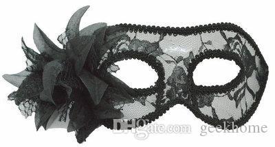 10 unids / lote vestido de lujo flor del lirio de navidad estilo fiesta de la bola de baile máscaras de disfraces vestido de traje máscara de la mascarada de las mujeres translúcidas