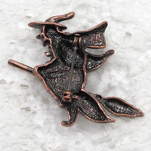Groothandel antieke koper plated heks op bezem pin broche mode kostuum broches sieraden cadeau C396 D