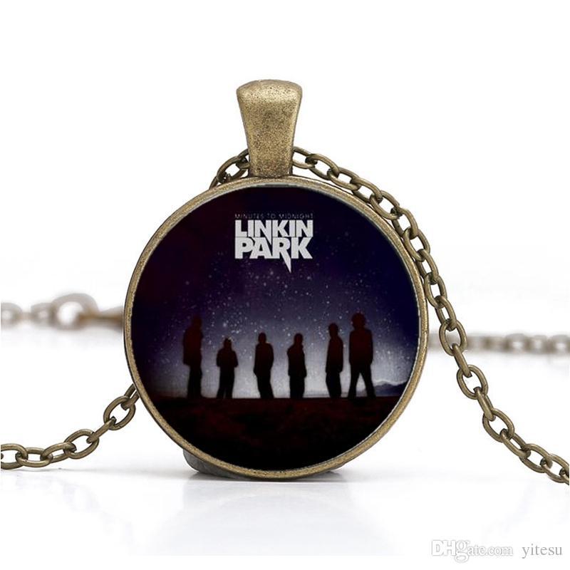 Déclaration de gros Linkin Park Logo Pendentif Collier Bijoux DIY Rond En Verre Lincoln Park Band Colliers Cadeaux Pour Hommes Accessoires