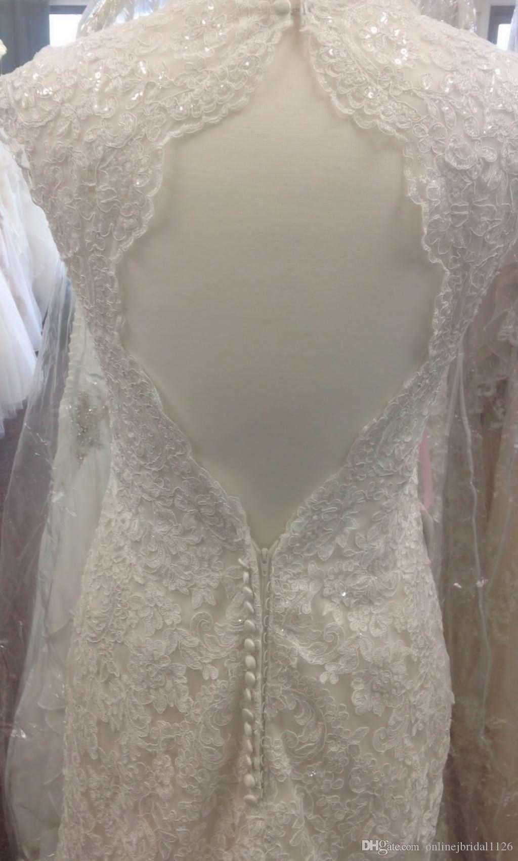 Custom Made V Neck Fit and Flare Keyhole Back Corded Lace Vestido De Noiva Robe De Marriage COR-399 Wedding Dress Bridal Gowns