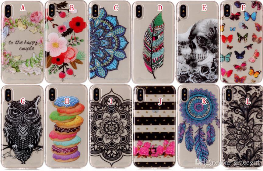 For Iphone X 8 7 7PLUS 6 Plus 6S SE 5 5S 5C Ipod Touch 5th 6th Huawei P9 P10 P8 Lite 2017 Owl Cartoon Dog TPU Soft Case Mandala Skin Cover