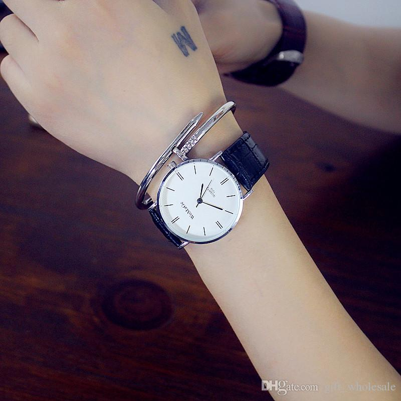 2017 New Brand WOMAGE Quartz Watch Men Lovers Leather Dress Wristwatches Fashion Casual Watches Women Lovers'
