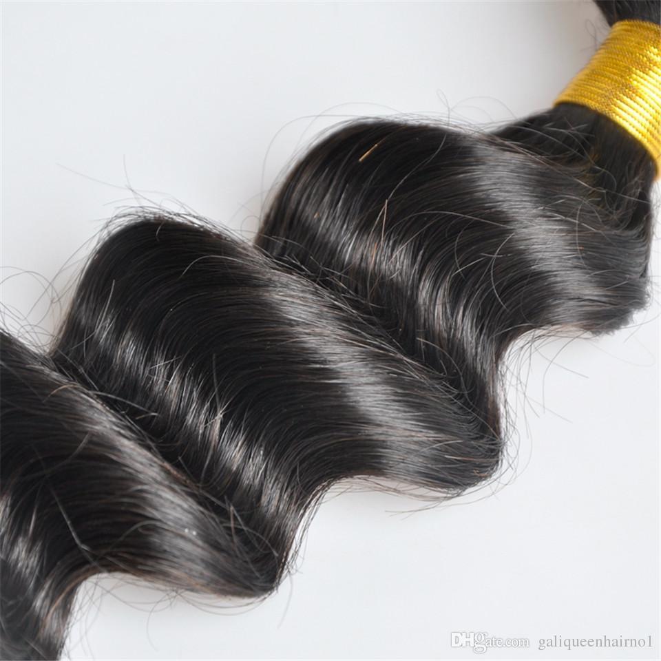 Weaves dei capelli vergini umani dell'onda profonda allentata brasiliana con chiusura del pizzo 4x4 nodi candeggiati 100g / pc Colore naturale Doppio WeFts Estensioni dei capelli