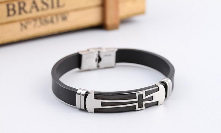 Hot sale Stylish retro charm classic plating black silicone stainless steel bracelet FB366 a Slap & Snap Bracelets
