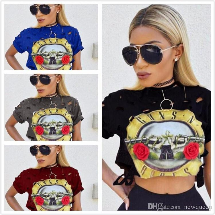 eca542c6bb Exposed Navel SexyMulticolor Holes Cave Print Short T-Shirt Fashion Casual  New Arrival Female Blue Yellow Red Black Lovely Girl s Tear Shirt Sexy  Exposed ...