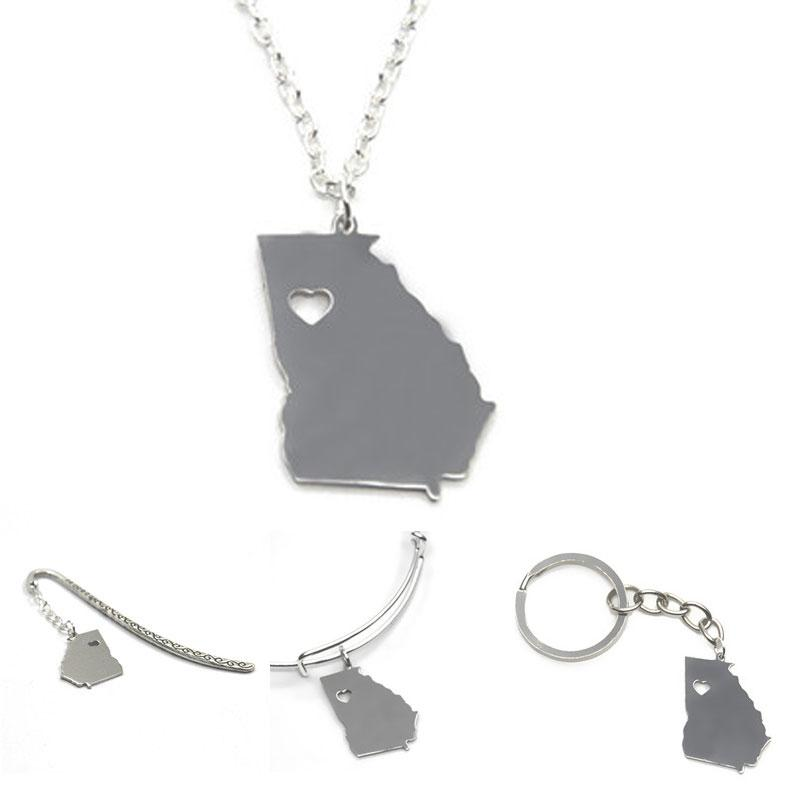 Wholesale US State Map Necklace Georgia Island Silver Tone Georgia ...