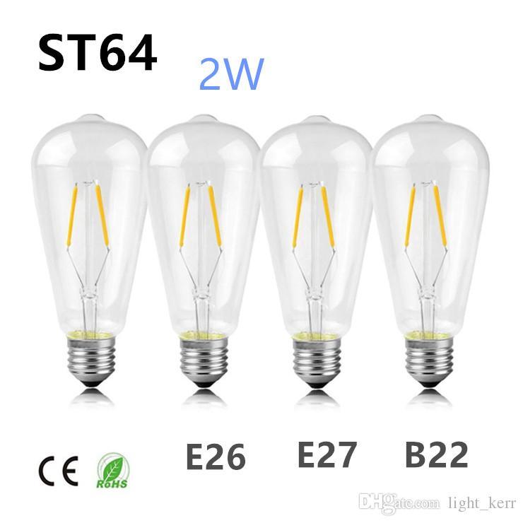 Filament 2700k Edison B22 Chaud 2w Style Lampe E26 Led Incandescence 200lm 20w Moyen Blanc Antique St64 Culot Ampoule À Vintage Forme E27 ARLj435q