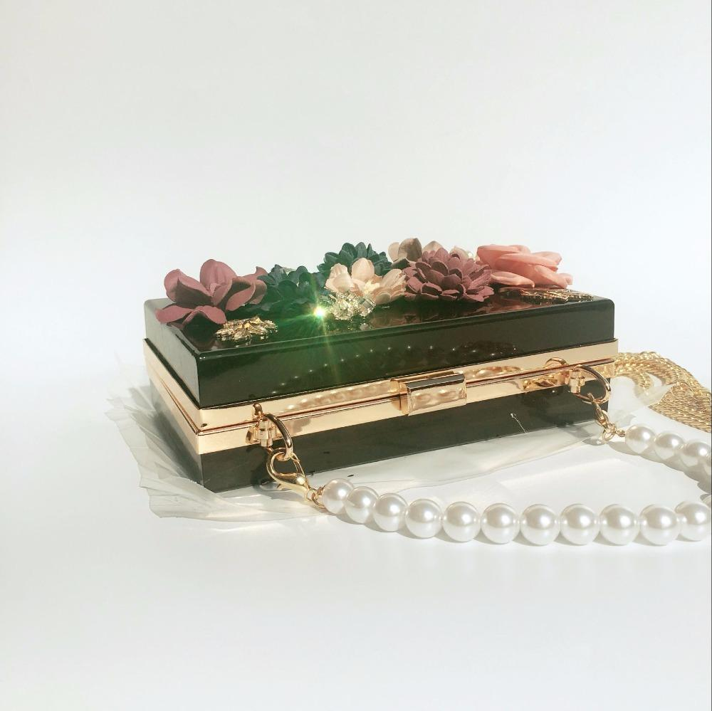 Bolso de lujo de las mujeres bolsos de tarde del banquete de boda flor de la perla del hombro de la novia bolso Crossbody caja dura embrague regalo de Navidad