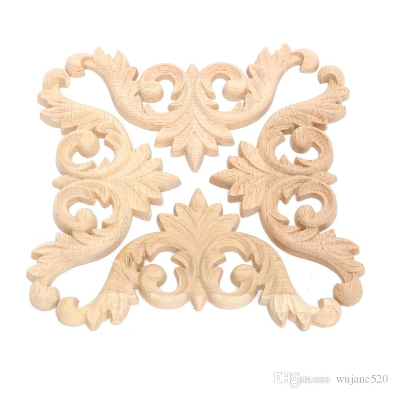 3 Size Wood Carved Corner Onlay Applique Unpainted Furniture Wall Door Drawer Cabinet Decorative Figurines Wooden Miniatures Decor Carfts