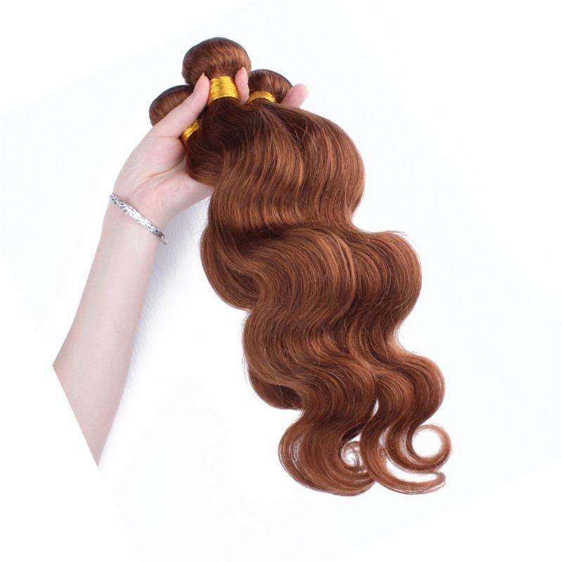Auburn Body Wave Virgen Hair 3 Bundles Color # 30 Brown cabello humano Weaves Lote Extensiones de cabello brasileño Dhl Free