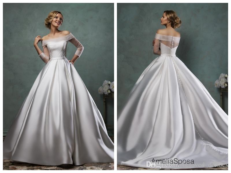 Ivory Ball Gown Wedding Dress: 2017 Ball Gown Wedding Dresses Bridal Gowns Ivory Satin
