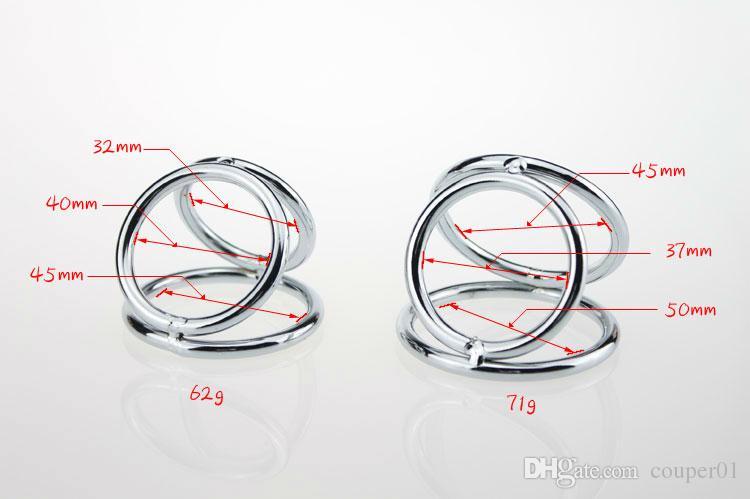 Anneau de pénis en acier inoxydable 32 * 40 * 45mm trois anneaux cock ring en métal anneau de pénis boule produits de sexe de civière pour les hommes pénis