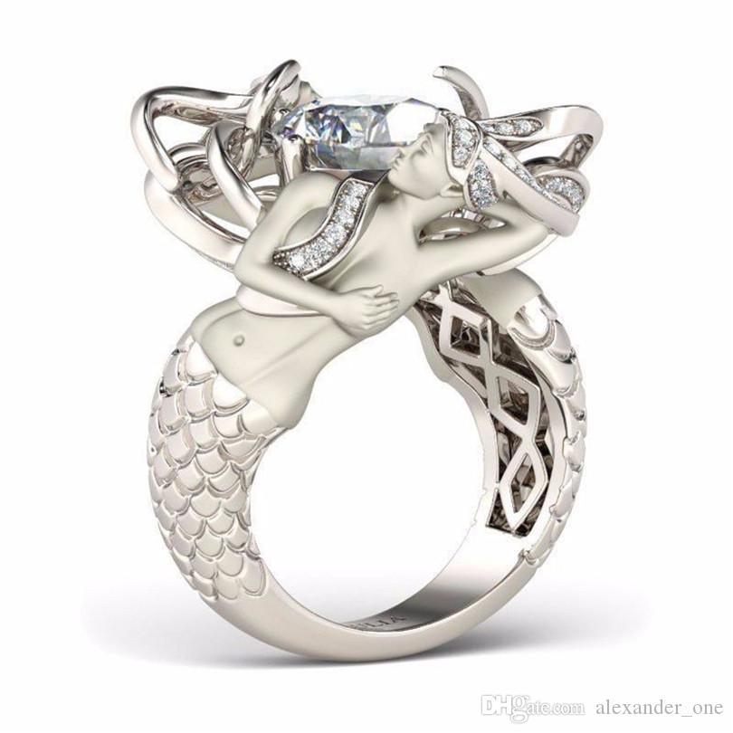 Moda simpatico anello a forma di mermaid con gemma taglio gioiello 8mm diamante simulato 925 anelli fedi in argento sterling donne Taglia 5-10