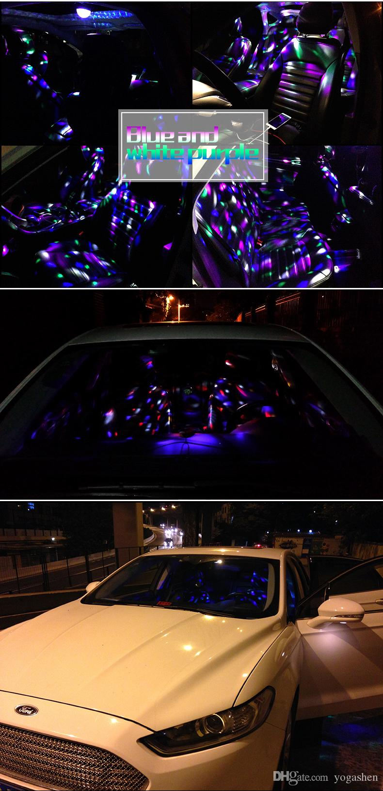 Car LED Music decorate Lights DJ Mini RGB 18w LED MP3 Club Disco Party Magic Ball Stage Effect Rotating Bulb With USB Interface