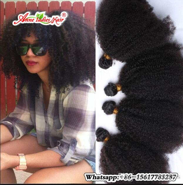 Mongolian Brazilian Kinky Curly Hair Weaving African Style Non Remy