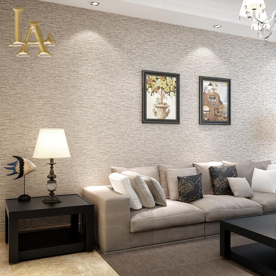 Wholesale modern simple solid color grey beige linen straw textured wallpaper for walls 3 d Textured wall in living room