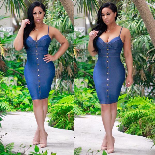 2017 Summer High Quality Denim Fabric Sheath Women Casual Dresses with Spaghetti V Neck Sleeveless Cheap Girl Dress Real Photo