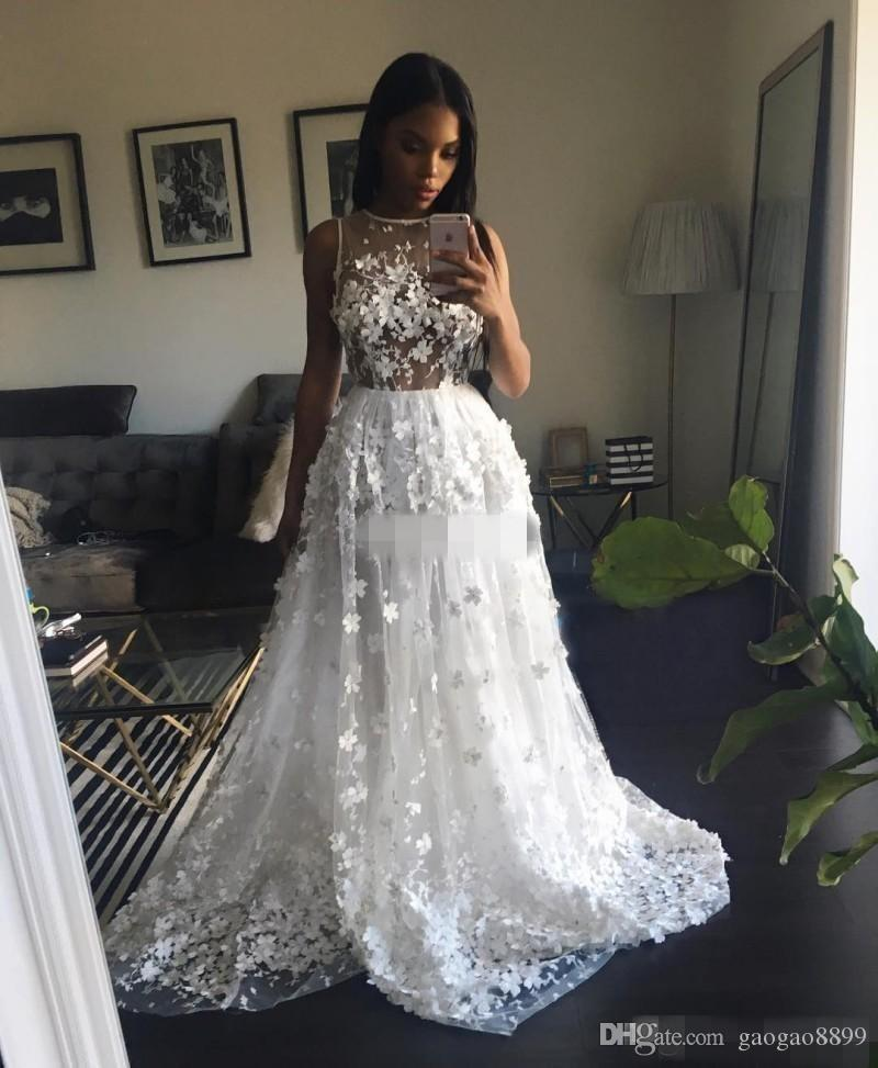3D Floral Appliques 2019 White Prom Dresses Long Sheer Jewel Neckline Lace Evening Gowns Sweep Train Formal Party Dress Sleeveless Cheap