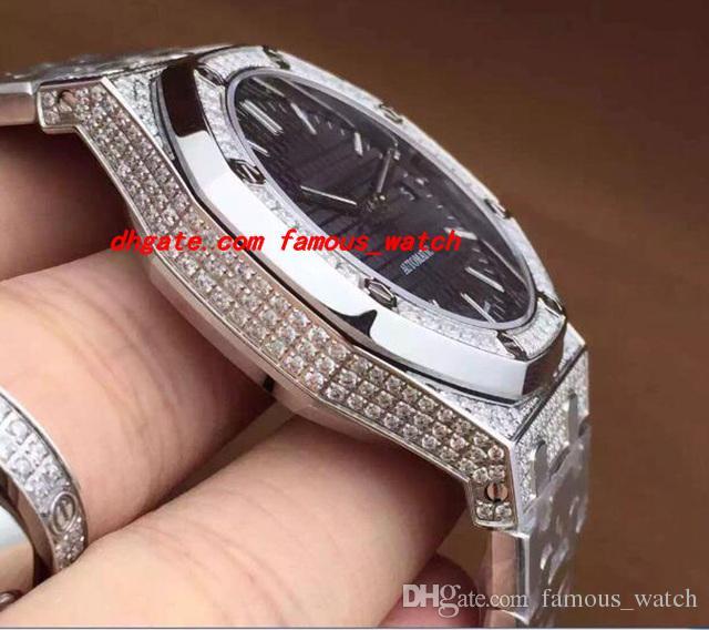Neue 2017 Luxus Armbanduhr Automatische Weißgold Diamant Edelstahl Armband Mechanische Männer Uhren Top-qualität