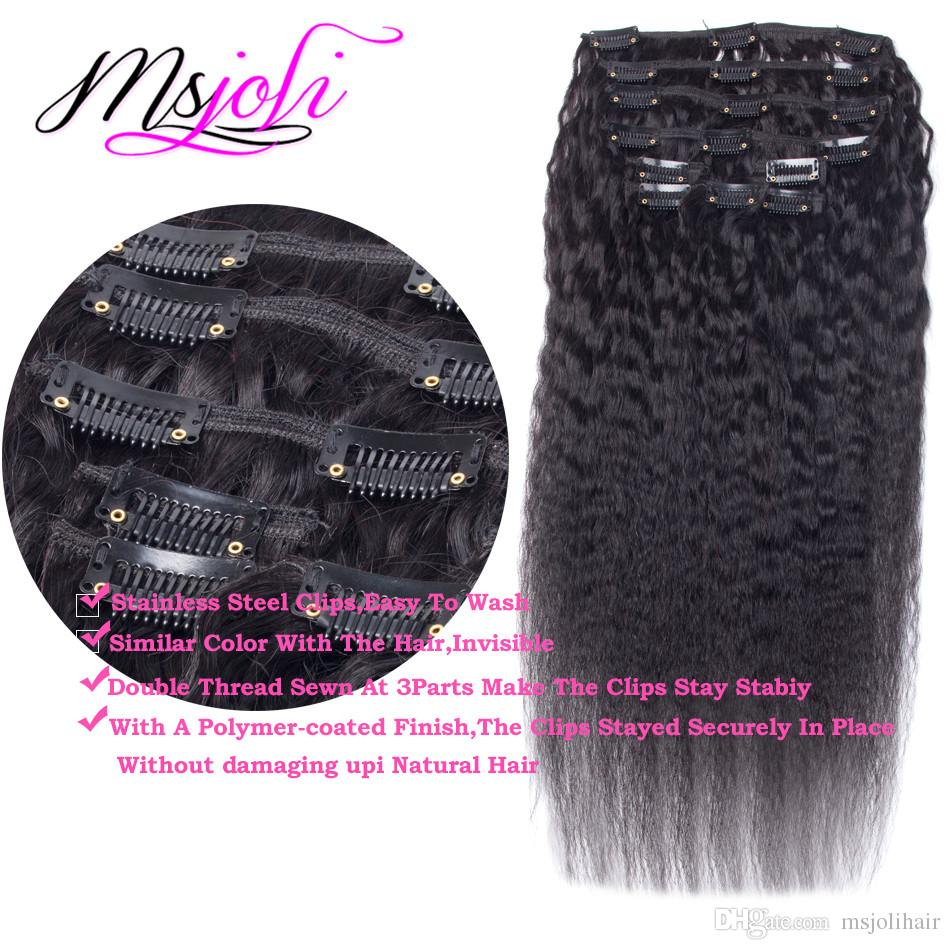 Clip en extensiones de cabello humano Clip de cabello rizado brasileño natural Remy Clip-ins 70G 100G 120G clip de yaki en extensiones de cabello humano