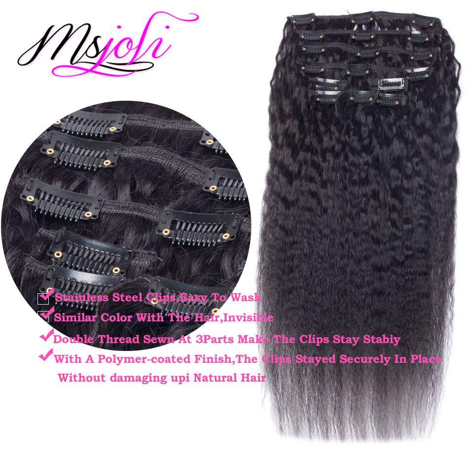 Clip en Extensions de cheveux humains Naturel Cheveux Remy Brésiliens Kinky Straight Clip-ins 70G 100G 120G yaki clip en extensions de cheveux humains