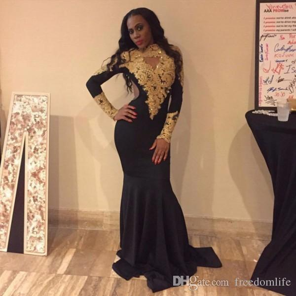 Sexy Gold And Black Prom Dresses For Black Girls 2k17 Long Mermaid