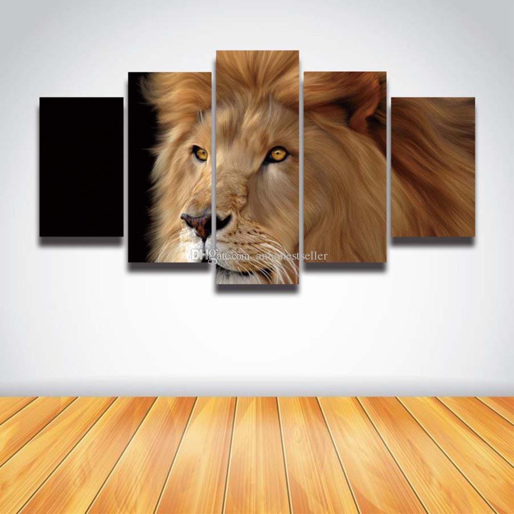Satın Al 5 Panel Tuval Duvar Sanatı Baskılar Aslan Kafası Boyama