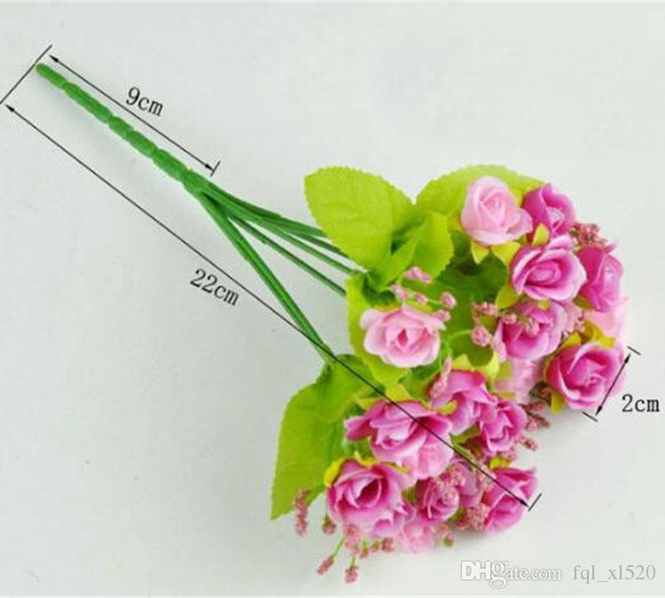 Diamond Rose Silk Artificial Flower 7-branch 21-head pequeñas rosas 22cm plantas de decoración de longitud para la boda casera