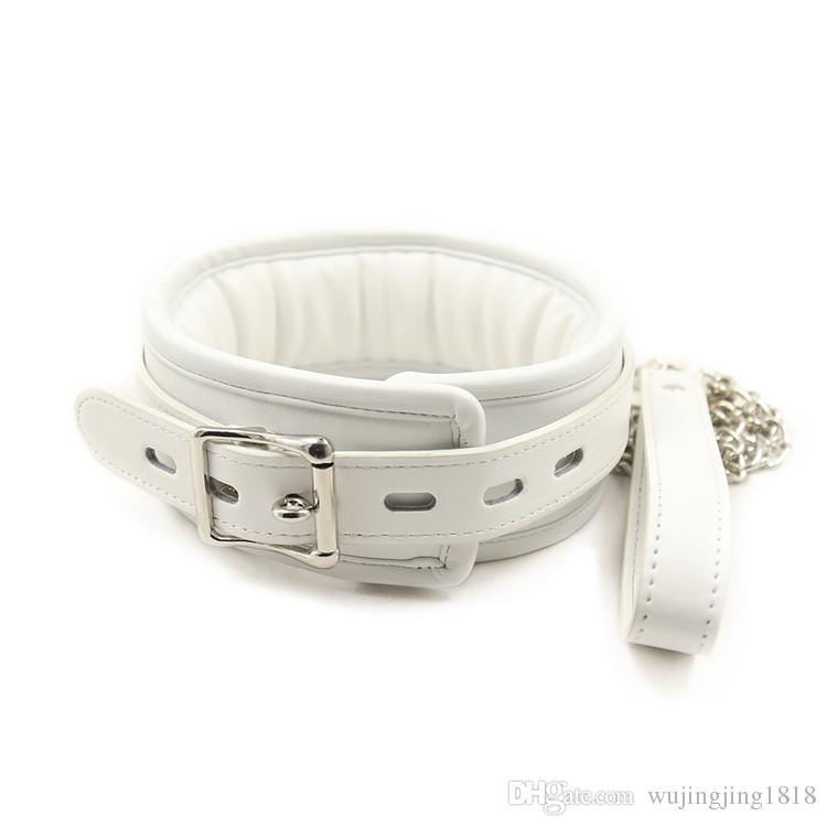 White Leather Bondage Gear Harness Fetish Slave Collar With Chain Leash Neck Corset Sex Adult Collars Restraints Bdsm Sex Toys For Couple