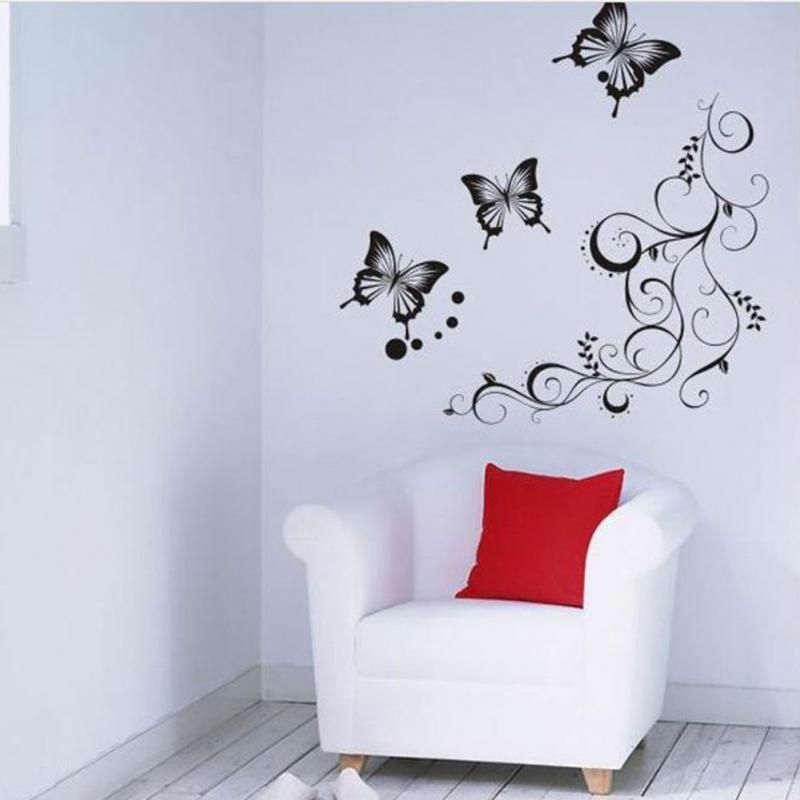 Wonderful Wholesale Butterfly Flowers Wall Art Living Room Diy Removable Wall Paper Decor  Bedroom Wall Decals Home Decoration Plant Poster Wallpaper Hd In Desktop ...