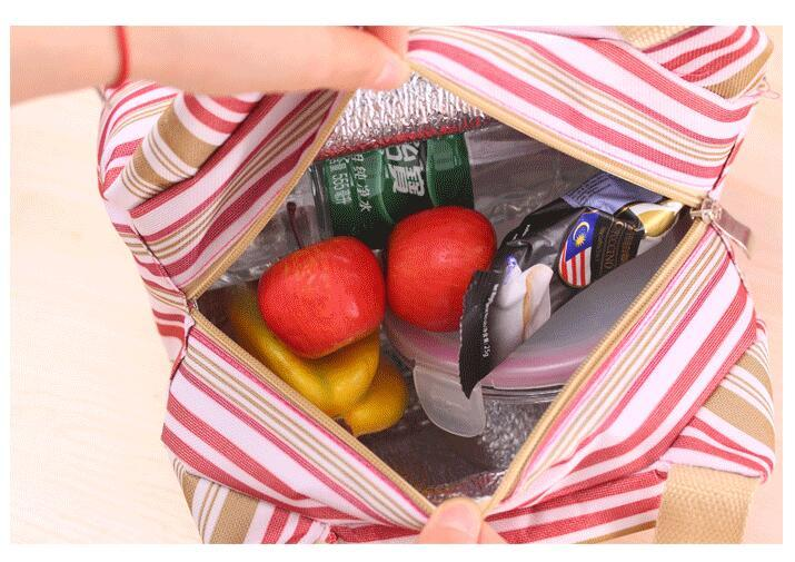 Thermal Insulated Portable Cool Canvas Stripe Lunch Totes Bag Carry Case picnic lunch bag zipper bag lunch box DHL free ship