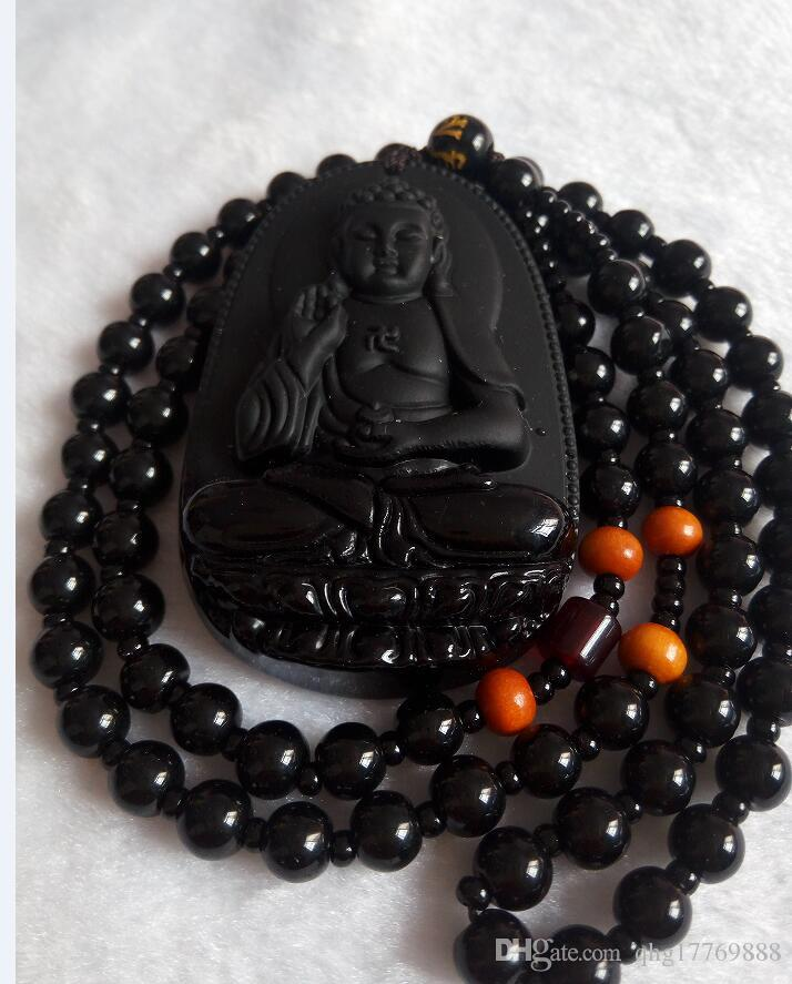 Natural Black Obsidian Carved GuanYin Buddha Lucky Pendant + Necklace A9178