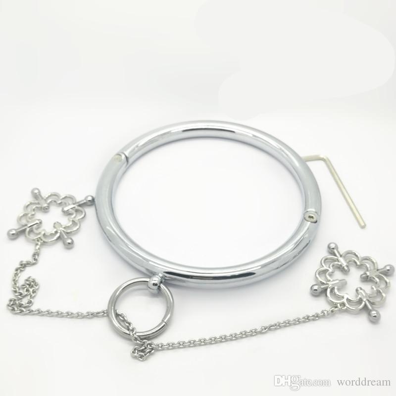 Morsetti dei capezzoli del collare del metallo dell'acciaio inossidabile dello schiavo di schiavitù in giochi adulti, prodotti erotici fetish del sesso che flirtano i giocattoli le donne