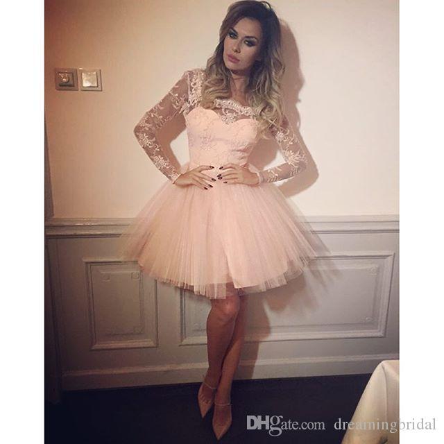핑크 홈 커밍 드레스 Scalloped 목 긴 소매 레이스 Tull 예쁜 댄스 파티 드레스 Keen 길이 달콤한 16 드레스 가운