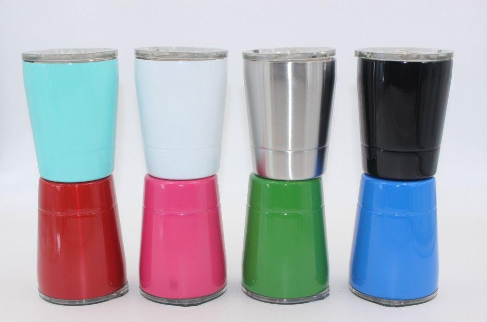 9 renkler 8.5 oz şarap gözlük Paslanmaz Çelik Bardak 8.5 oz bardaklar Seyahat Araç Bira Kupa payet kapakları ile Vakum olmayan kupalar