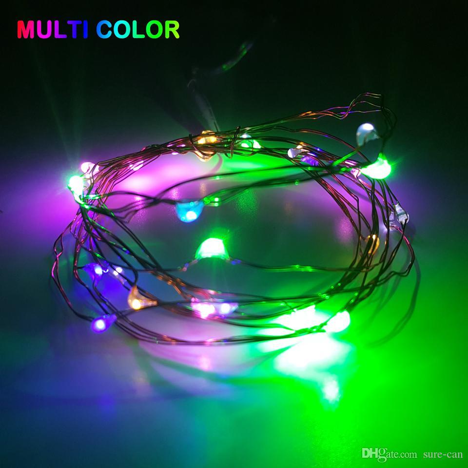 más barato 2M 3M 5M Fiesta de Navidad led Batería Operado 20 30 40 50LEDs cable de cobre / plata Cable Lámpara de luz de cadena