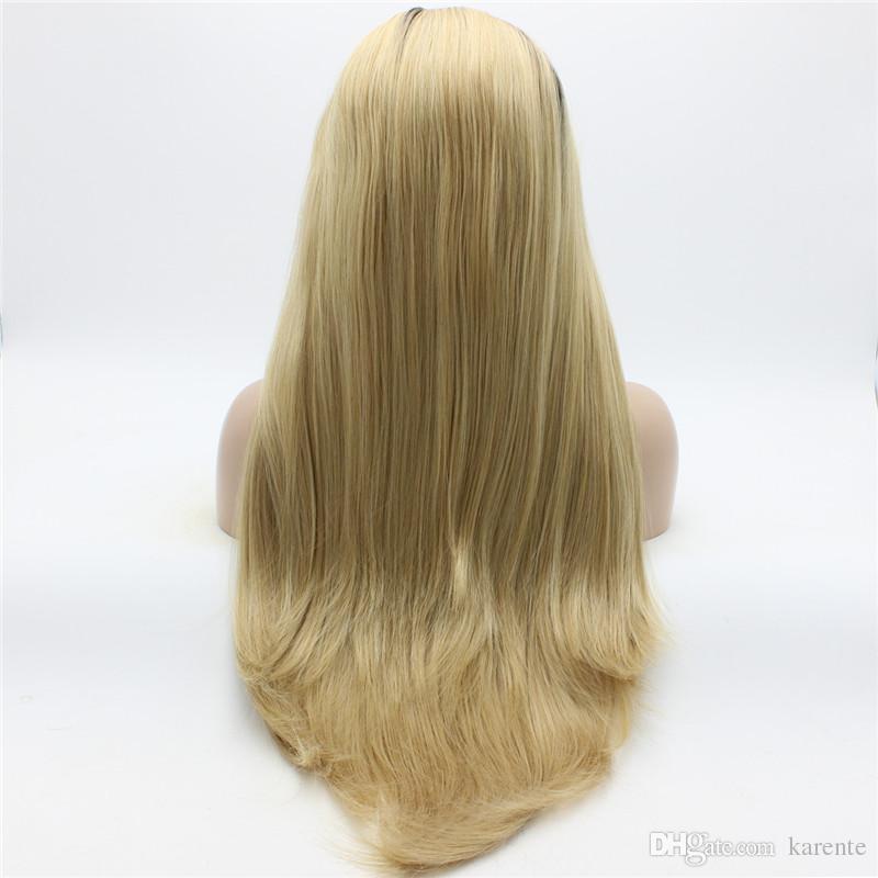 Iwona 머리 직선 긴 갈색 뿌리 가벼운 금발 Ombre 가발 2 # 8 / 613 하프 손 묶여 내열성 합성 레이스 프론트 가발