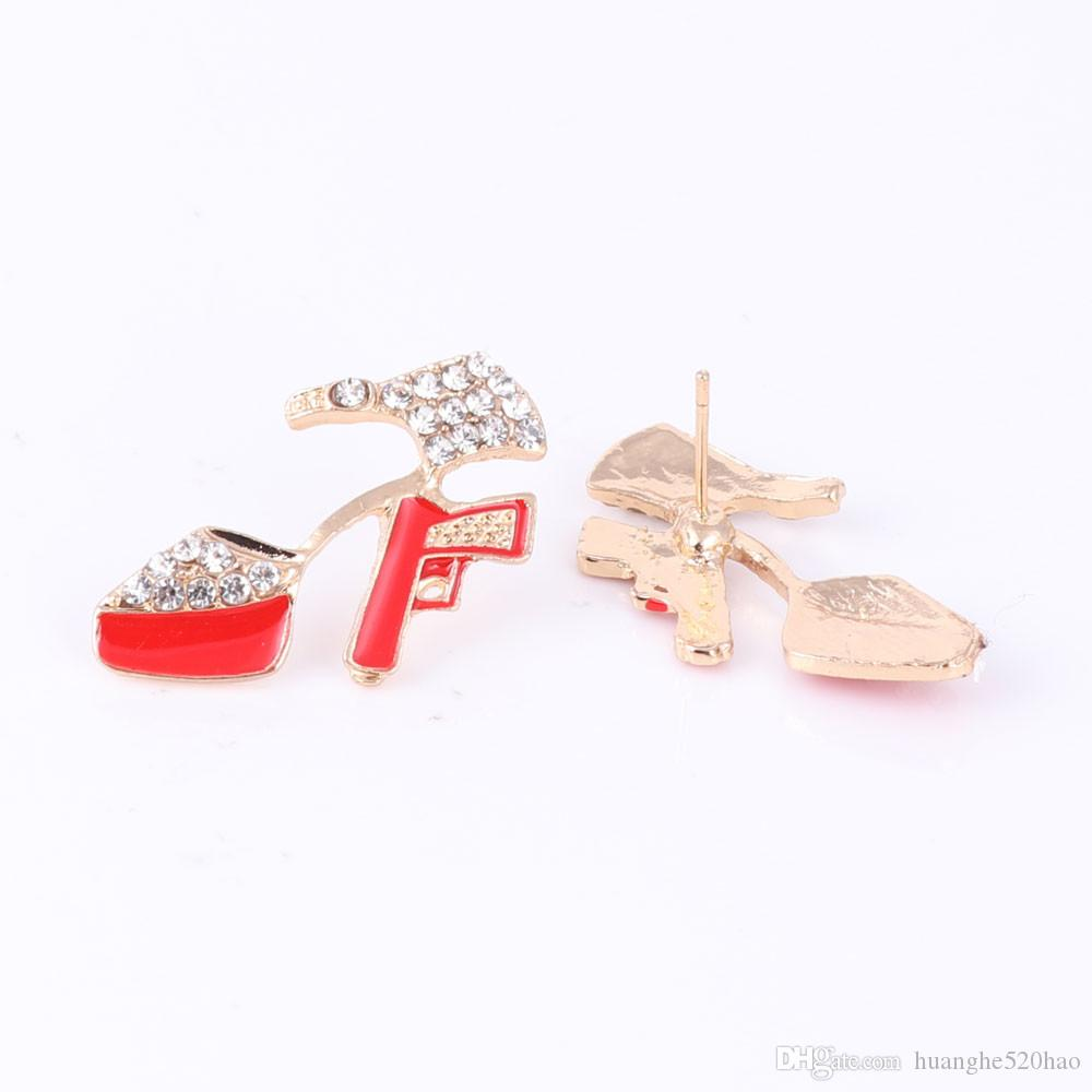 High-heeled Shoes 2020 Hip Hop Golden Statement Red Enamel Crystal Pistol Pendant Party Gift Necklace Bracelet Earring Ring