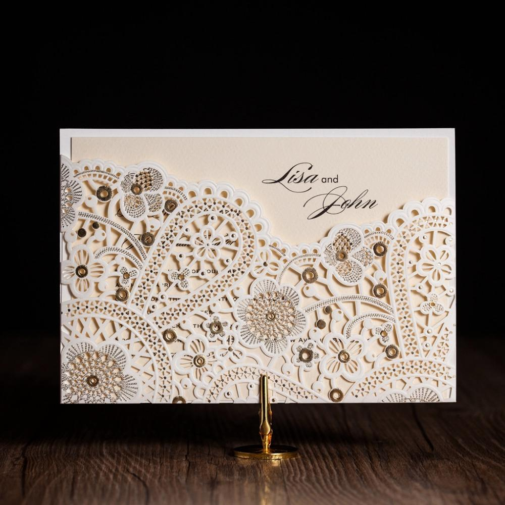 Wholesale Cw5181 White Foil Laser Cut Wedding Invitation Printable& ...