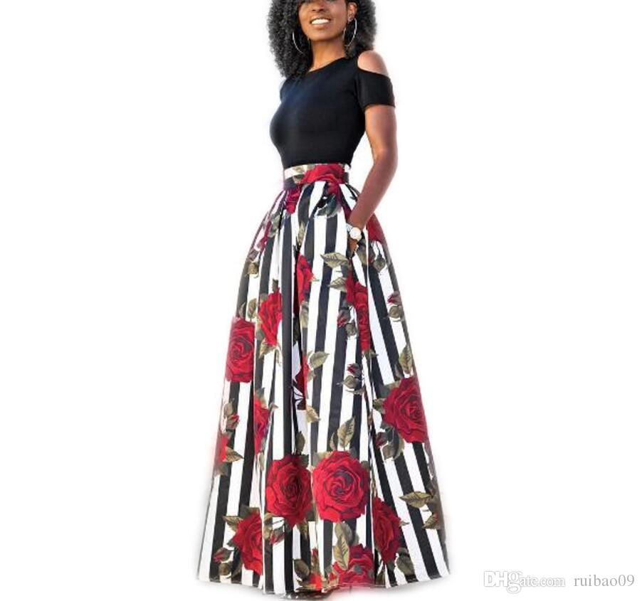 los angeles 57264 09833 New Fashion Women stampa africana gonna lunga Ankara Dashiki vita alta A  Line Maxi gonna lunga ombrello Ladies Jupe Longue Femme