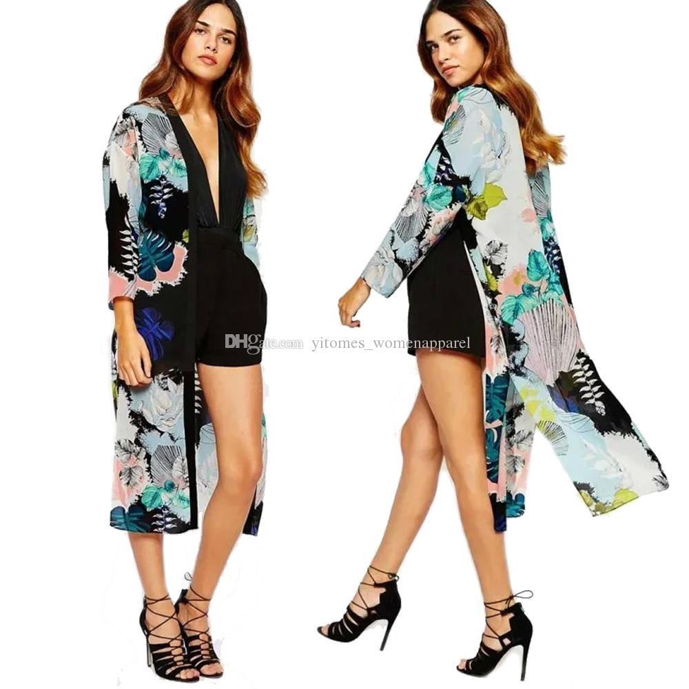 f90b94b87 2019 Summer Women Chiffon Blouses Kimono Long Cardigan Casual Floral Print  Long Sleeve Long Cover Ups Tops Blusa Mujer Feminino Plus Size 2017 From ...