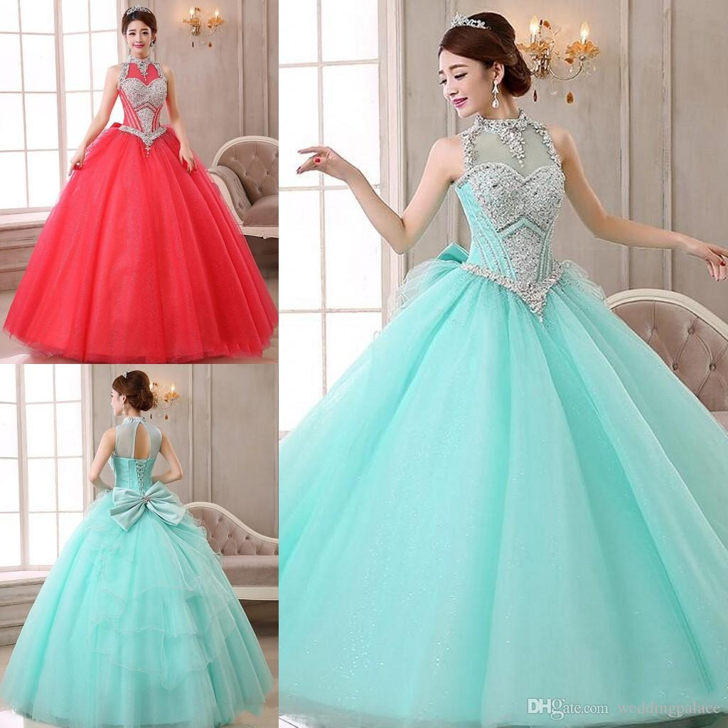 Vintage Ball Gown Quinceanera Dresses High Neck Beaded Lace Corset ...