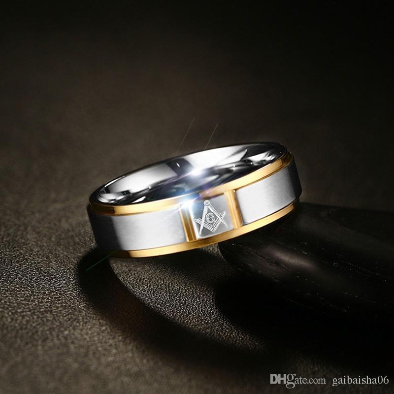 Мужские масонные кольца из нержавеющей стали золотой цвет 6 мм широкое кольцо для мужчин свадебные украшения R-252