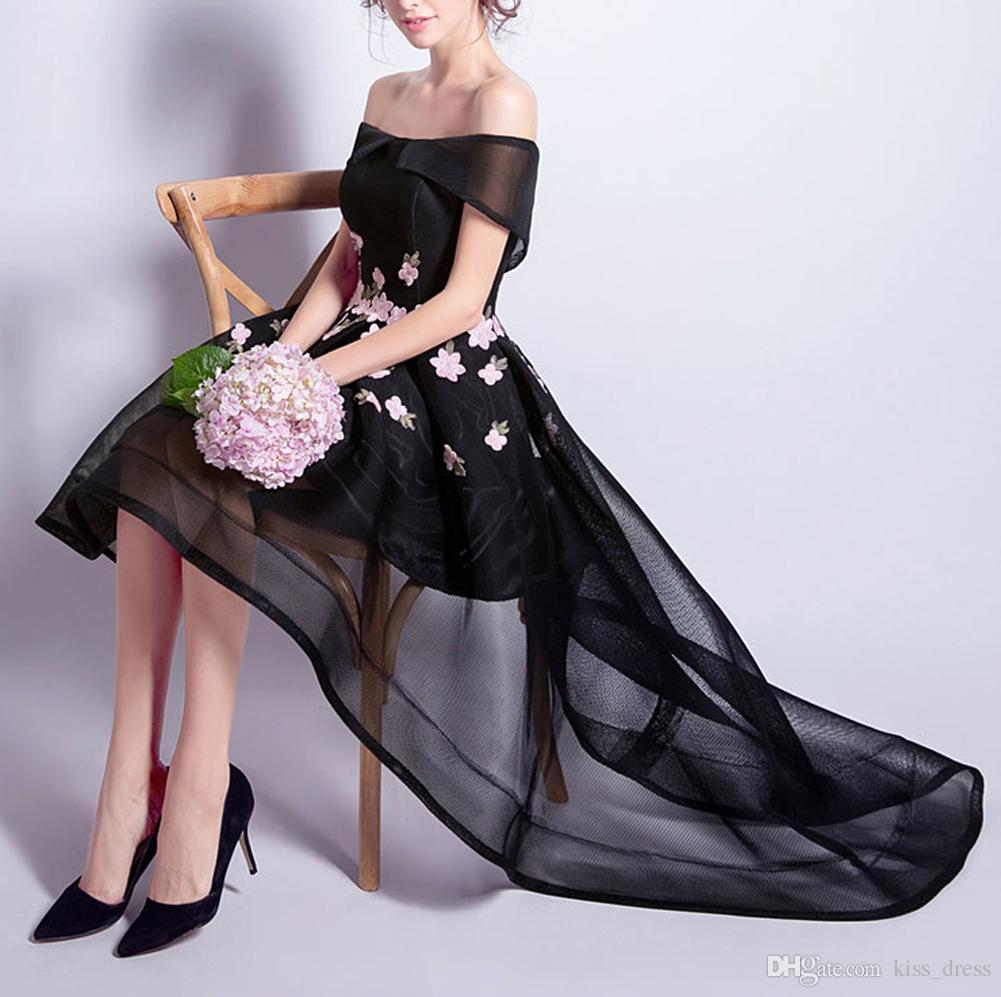 Off-the-shoulder Black Prom Dresses High Low Elegant Pink Flower Tulle Formal Evening Party Gowns 2019 New Design Hot Sales Custom Made P119