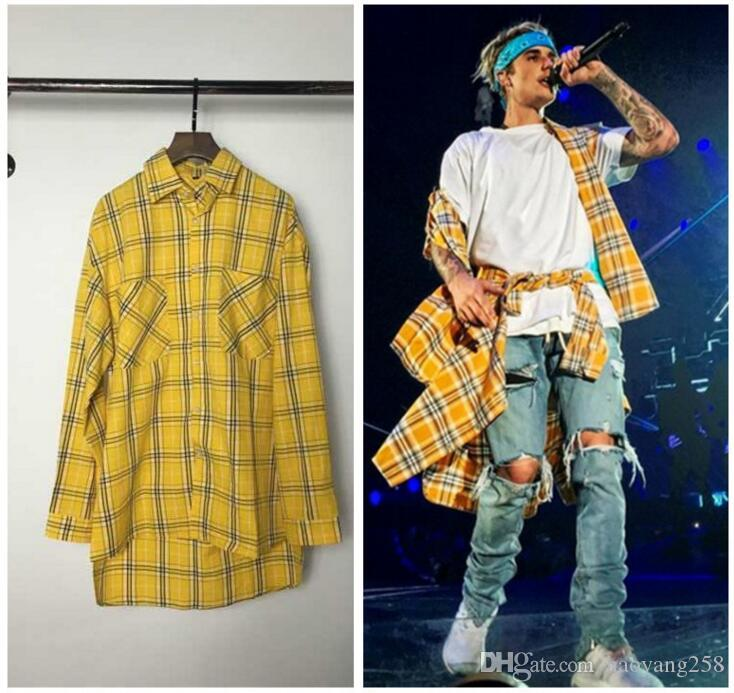 Mens Fashion Lattice Shirt Urban Streetwear Harajuku Kpop Hipster Hip Hop  Kanye West Clothing Justin Bieber Thin Shirts UK 2019 From Haoyang258 ad84eae5c4b5
