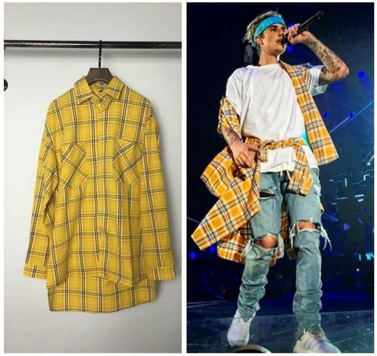 2018 Mens Fashion Lattice Shirt Urban Streetwear Harajuku Kpop Hipster Hip Hop Kanye West ...